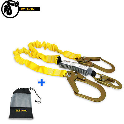 KwikSafety PYTHON 6' ANSI 2 Leg Fall Protection Safety Lanyard w/ Shock Absorber