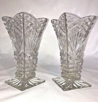 Martching Pair Of Heavy Clear Cut Glass Vases - Vintage