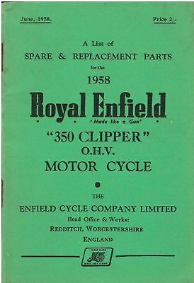 on Royal Enfield 350 Clipper O.H.V.  PARTS LIST  1958