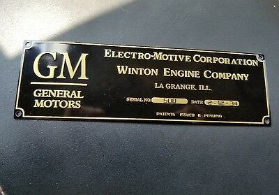 General Motors Electro-Motive corppration Engine Plate LaGrange winton engine ??