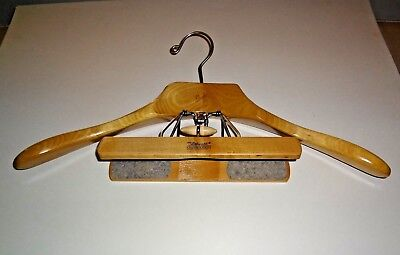 Vintage Setwell  Wooden Clothes Hanger Suit Jacket with Pants or Skirt Clamp
