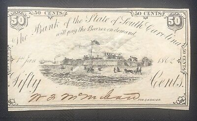 Bank Of The State South Carolina Fractional Note Fort Moultrie
