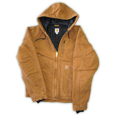 Carhartt 100786 Quited Sateen Lined Hooded Jacket Brown NWT Size L-2XL
