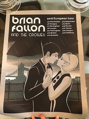 BRIAN FALLON & CROWES concert poster Europe 2016 gaslight anthem print hellgate