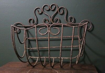 Antique Vintage Ornate Wrought Iron Wall Hanging Planter Holder Sconce Garden