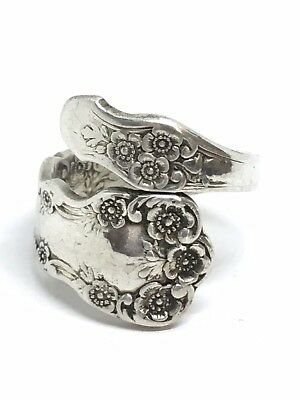 SZ 6 Antique British Sterling Silver Spoon Ring 8.20g (32-27)