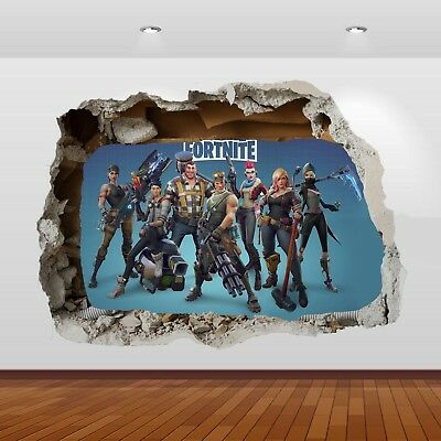 Fortnite Characters Game 3d Smashed Hole Wall View Sticker Poster Mural Ar 898