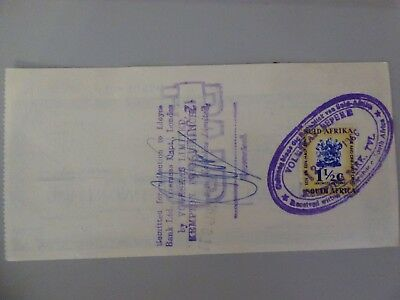 South Africa Fiscal on  Lloyds Travellers Cheque used £10 on 12th July 1966