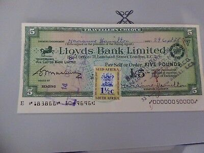 South Africa Fiscal on  Lloyds Travellers Cheque used £5 on 14th October 1966