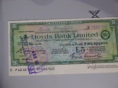 South Africa Fiscal on  Lloyds Travellers Cheque used £5 on 24th November 1966