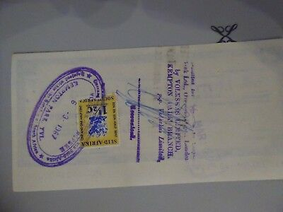 South Africa Fiscal on  Lloyds Travellers Cheque used £10 on 6th March 1967