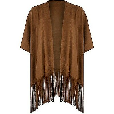 River island tassle brown cape jacket one size suede look