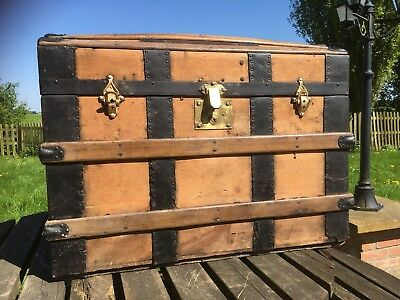 antique wooden trunk, Old Wood Travel Trunk, Dome Top Trunk