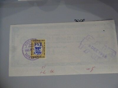 South Africa Fiscal on  Lloyds Travellers Cheque used £10 on 6th December 1966