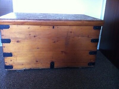Antique pine chest which has been restored after use as a TV cabinet
