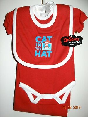 New RARE Trend Lab Dr Seuss Cat in the Hat 4 Piece Layette Gift Set Red Sz 0-3 M