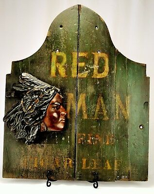 Extremely Rare Vintage Red Man Tobacco Advertising w/ Indian Head Sculpture 1920