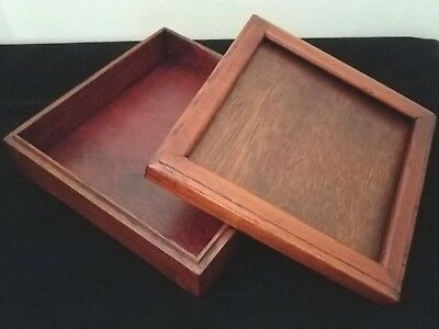 "Wood Box For Needlework Insert - 5.25"" Square - Mahogany - 4.25"" Lid Opening"