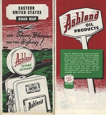 road and street maps byAshland Flying Octanes (1950s) - never used