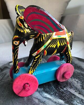 Painted Wooden Elephant on Wheels from BRAC/Aarong