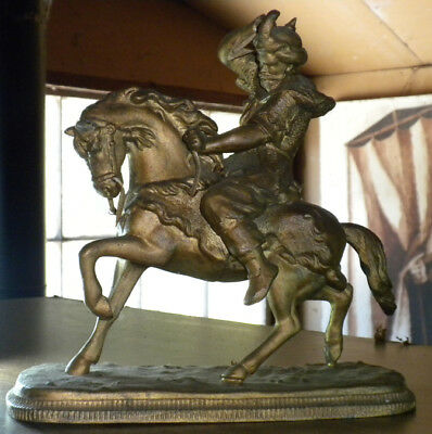Vintage Metal Horse Figurine Statue with King / Knight / Saltan Rider