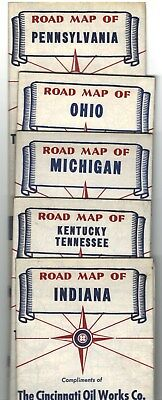 road and street maps by Cincinnati Oil Works Company -neverused - 1950's