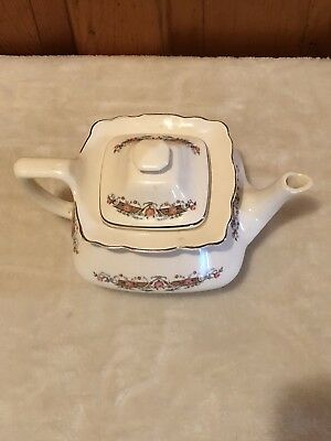 PRETTY W S GEORGE teapot with floral print. Pre-owned. Minor scuffs & scratches.