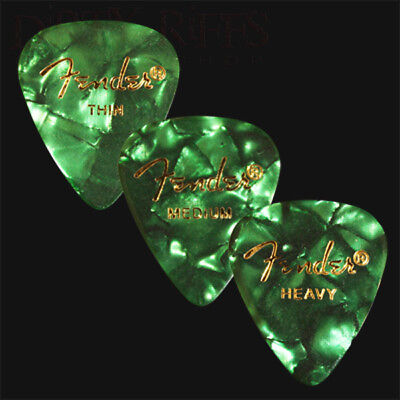 12 Fender Celluloid Guitar Picks Green Moto - Thin, Med, Heavy Or A Mix Of Sizes