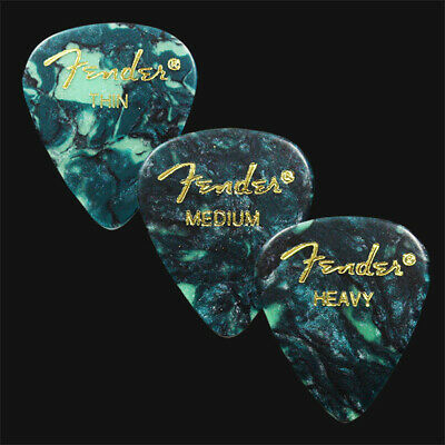 12 Fender Celluloid Guitar Picks Ocean Turquoise - Thin, Med, Heavy Or A Mix