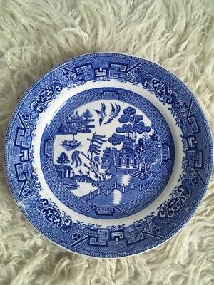 """Old Willow English Ironstone Staffordshire Dinner Plate • 9"""""""
