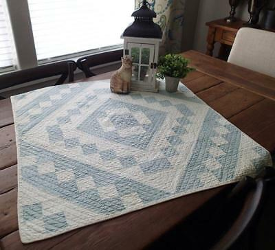 Antique Finely Quilted Blue White Table or Doll QUILT 32x32