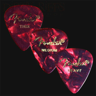 12 Fender Celluloid Guitar Picks Red Moto - Thin, Med, Heavy Or A Mix Of Sizes