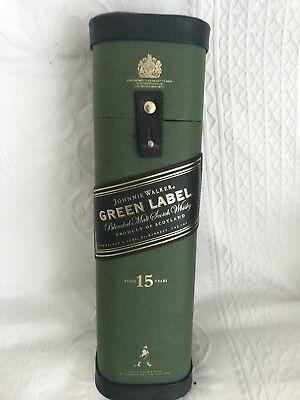 Johnnie Walker Green Label Empty Box - Collectible! Cardboard and leather