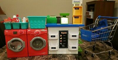 """My Life As 18"""" American Girl Boy Washer & Dryer, Sale Stand & Cart Lot!! L@@k!!!"""