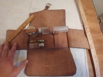 antique handmade leather 1870s womens make up kit glass silver/plate caps ornate