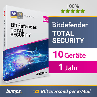 Bitdefender Total Security Multi Device 2019 / 2020 - 10 Geräte & PC | 1 Jahr