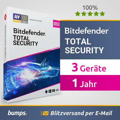 Bitdefender Total Security Multi Device 2019 / 2020 - 3 Geräte & PC | 1 Jahr