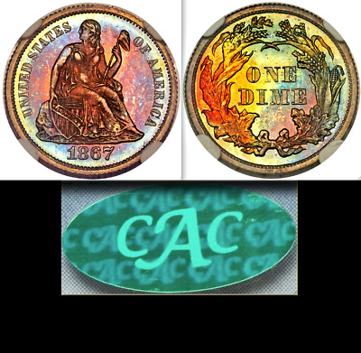 1867 NGC PR66✭ Star CAC 6,000 Minted + 625 PROOF ♚#1 KEY  $4,000 Seated Dime 10C