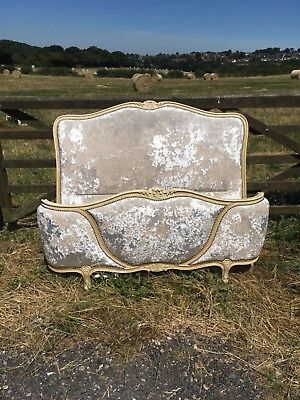 French antique crushed velvet double Louis bed