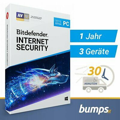 Bitdefender Internet Security 2019 / 2020 - 3 PC (Windows) | 1 Jahr / 365 Tage