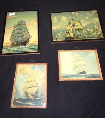 5 Vintage Florentine Toleware Wood Plaque Wall Decor Ship Sailboat Schooner