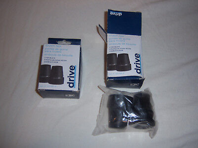 """2 NEW Drive Medical Crutch Tips  Black  7/8 Inch 7/8"""" 1 Pair only"""