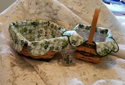 Longaberger 96 & 06 Lucky Twist Baskets Liners & Protectors SIGNED + a charm