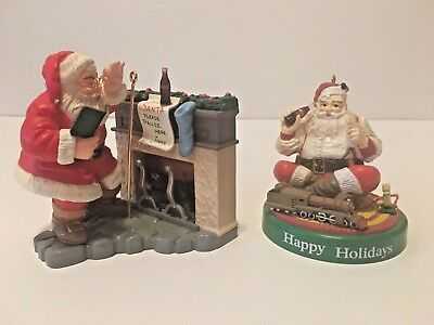 Vintage Set Of 2 Coca Cola Santa Tree Ornaments 1990 and 1995