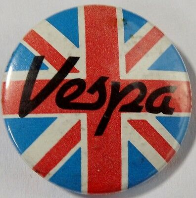 VESPA Union Jack Old OG Vtg 1980`s Button Pin Badge MOD Scooter(NOT ska punk)