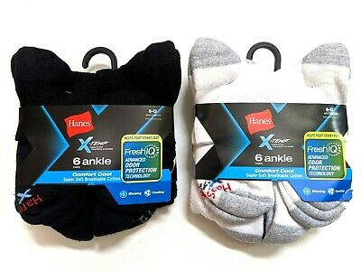 Hanes X-Temp Mens Comfort Cool Ankle Socks Large 6-Pairs Black Or White New