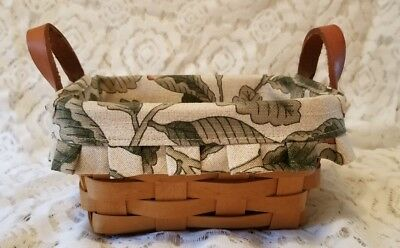 Longaberger Small Tea Basket with Fabric Liner and Leather Handles