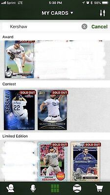 Topps Bunt DIGITAL 2012-2018 Misc. (Lot Of 60) Clayton Kershaw Dodgers