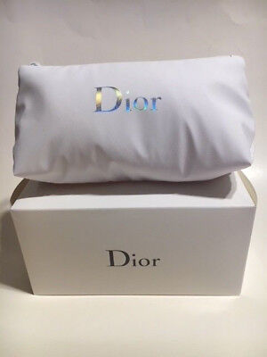 New Christian Dior White Makeup Zippered Bag