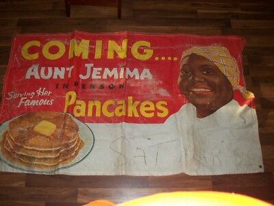 """Vintage 55"""" X 32"""" Canvas Banner Coming Aunt Jemima In Person Serving Pancakes"""